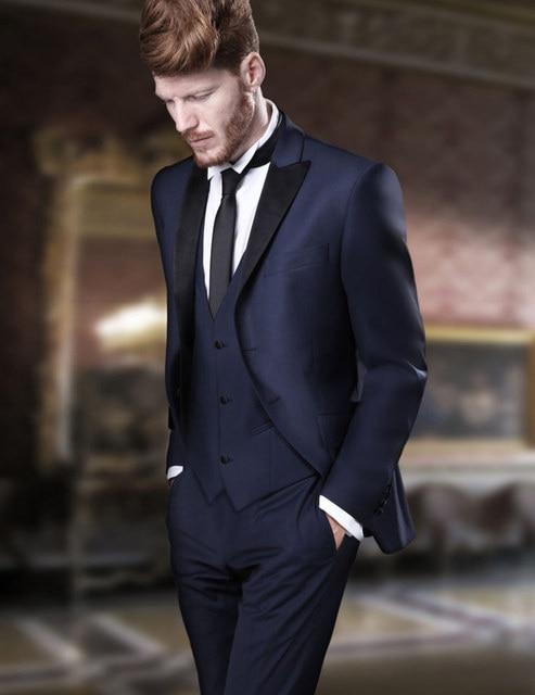 New Arrival Navy Blue Groom Tuxedos Groomsmen Mens Wedding Suits ...