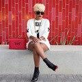 Повседневная Белый Цвет Длинные Женщины Футболку 2017 Мода Весна Осень свободные О-Образным Вырезом Письмо Плюс Размер Длинная Туника Топы Для Женщин XD695