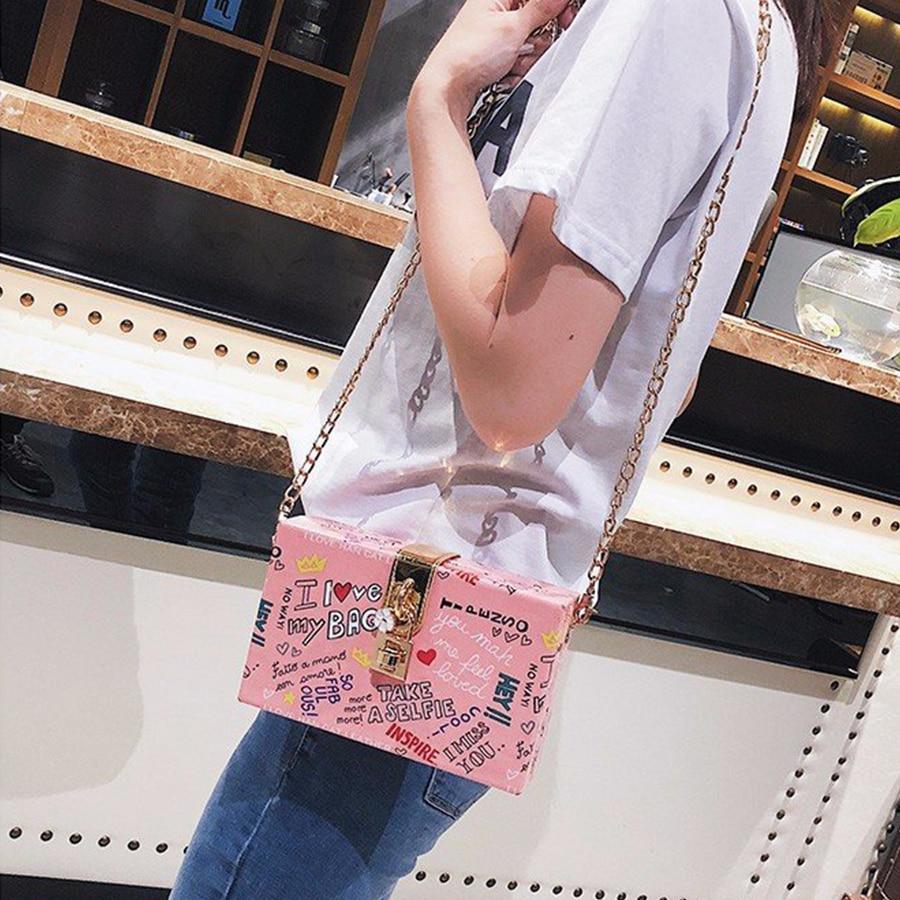 Harajuku Cute Graffiti Women PU Leather Shoulder Messenger Bag Girl Print Box Lock Small Square Bag Chic Chain Designer Clutch цена 2017