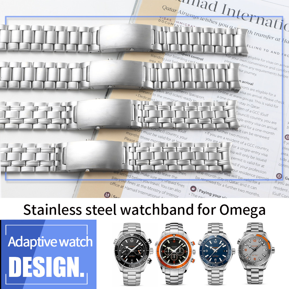 YQ Stainless Steel Polish Watch Bands for Omega Seamaster 300 Watch Strap Brand Bracelet Watchband Fold Buckle 20mm 22mm Silver