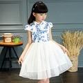 Мода Дети Платье Принцессы Дети Лето Китайский Стиль Cheongsam Халат Де залить Fille Милые Платья для Девочек 9 10 12 Лет