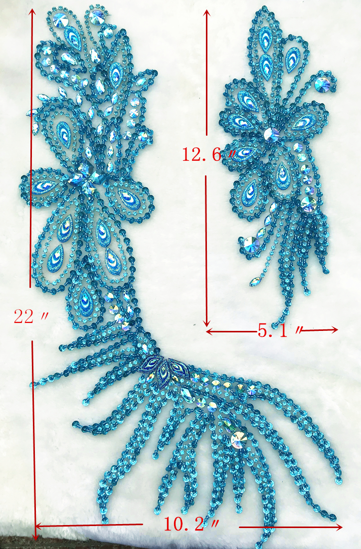All Handmade Exquisite Crystals Rhinestones Sequins Bead Sew on For Diy Dress Wedding Appliques Patches Trimming Blue Decoration in Patches from Home Garden