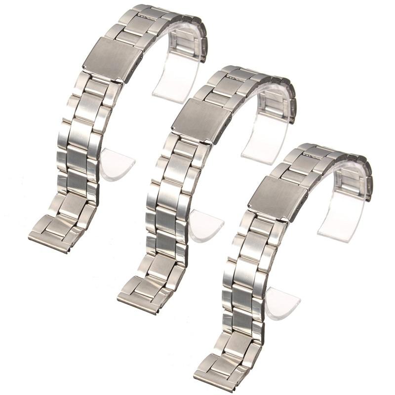 цены 1PC Silver Stainless Steel Men Wrist Watch Bracelet Strap 16-22mm Watchbands With Push-Button Buckle Clasp Men Watch Accessorie