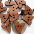 100 PCS/set Brown Wood Wooden Sewing Heart Shape Button Buttons Craft Scrapbooking 20mm for Garment Accessories  6LJL