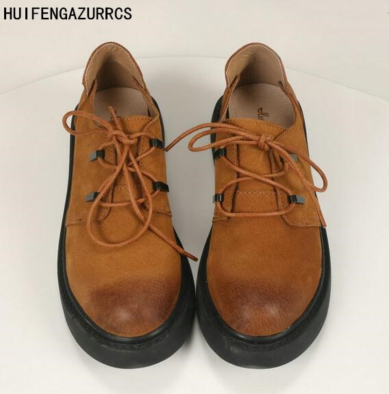 HUIFENGAZURRCS-The original head layer cow leather female shoes retro round shallow mouth to do the old shoes art fan flat shoes