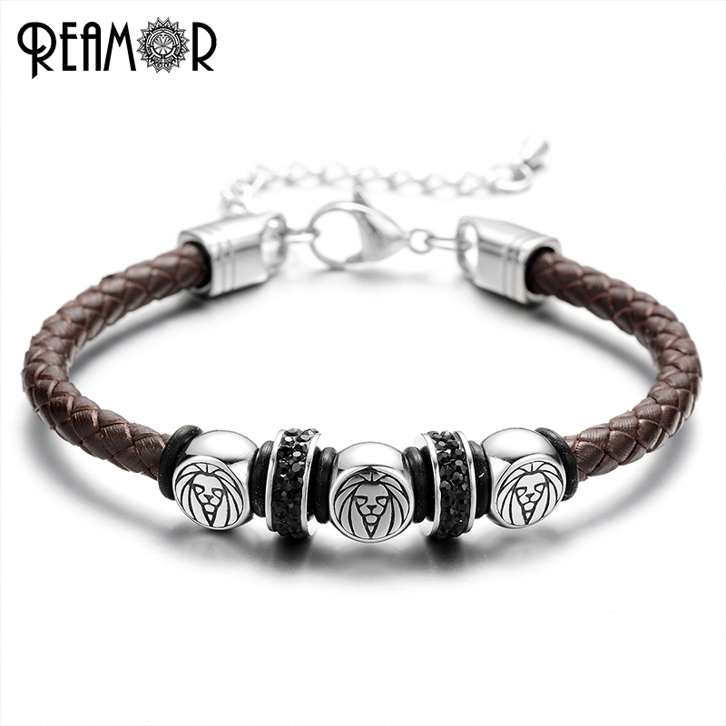 ed64055d3b78f REAMOR 316l Stainless Steel King of The Forest Lion Men Bracelets Braided  Leather Rope with Adjustable Chain Bangle Male Jewelry