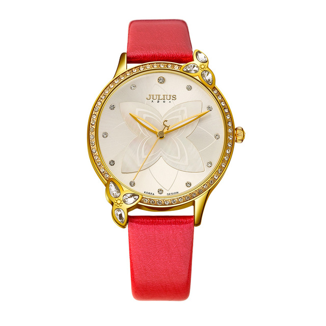 New JULIUS Ladies Famous Brand Leather Bracelet Quartz Watch