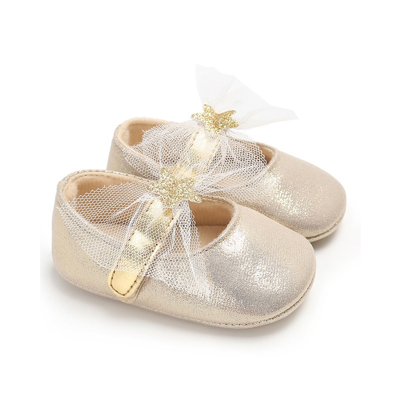 Fashion PU Leather Baby Newborn Baby Bow Star gold Shoes For Kids Sneakers Infant Crib Shoes Toddler Boys Girls First Walkers