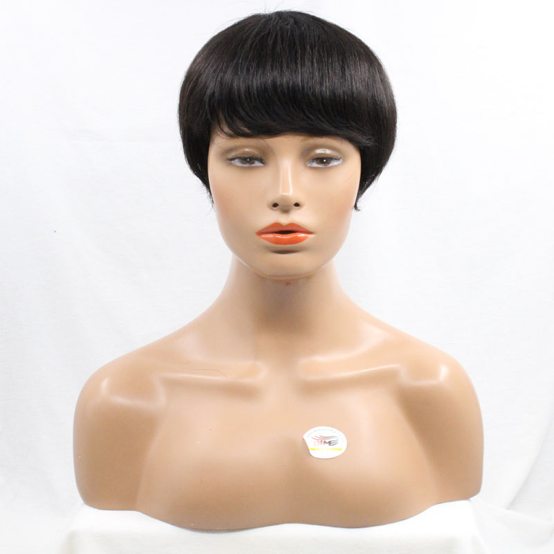 DLME Products Straight 6 inches Pre Plucked #1/#2/Black Pixie Cut None Lace Wig For Black Women With Bang High Temperature Fiber