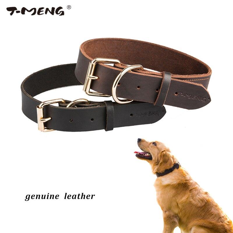 Real Leather Dog Collars Brun Sort Solid Color Prøve Hunde Halskæde - Pet produkter - Foto 2