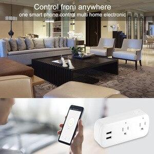 Image 3 - Smart Plug Wifi Smart Socket Remote Voice control 2 USB port  socket  Tuya Smart Life App US Plug Alexa Google Home Mini IFTTT