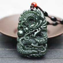Drop Shipping Natural Dark Green HETIAN Jades Pendant Necklace Carved Chinese Dragon Amulet for mens fashion
