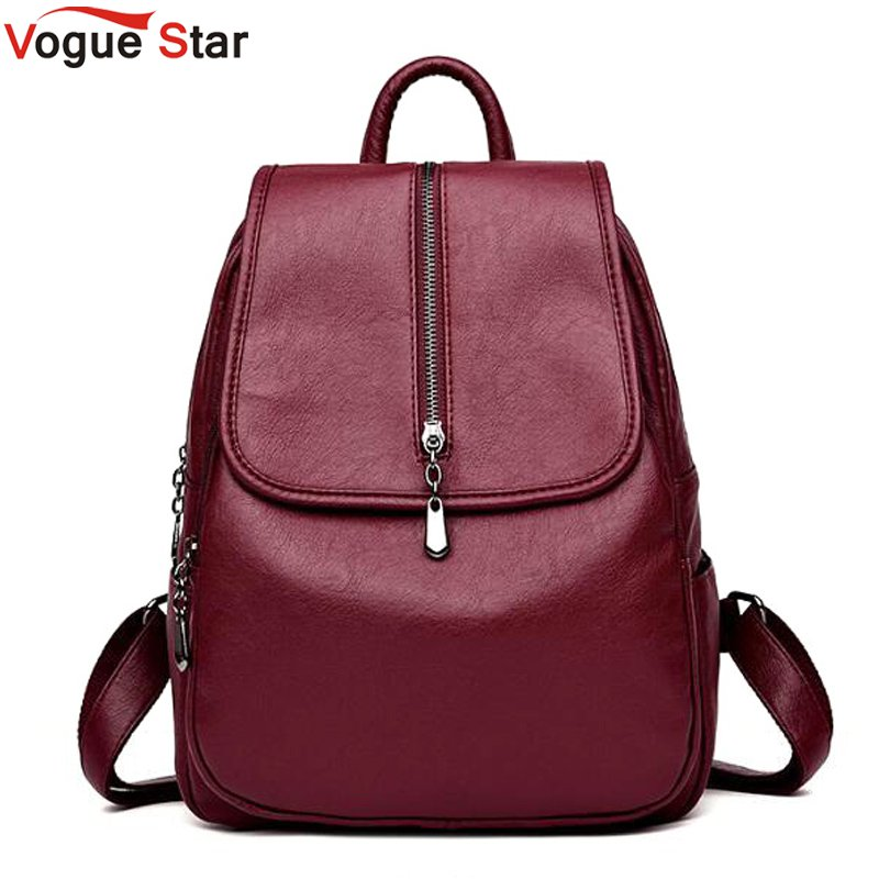 цены Vogue Star Women Vintage Backpacks High Quality Leather Backpacks For Teenage Girls Sac A Main Female School Shoulder Bags LB432