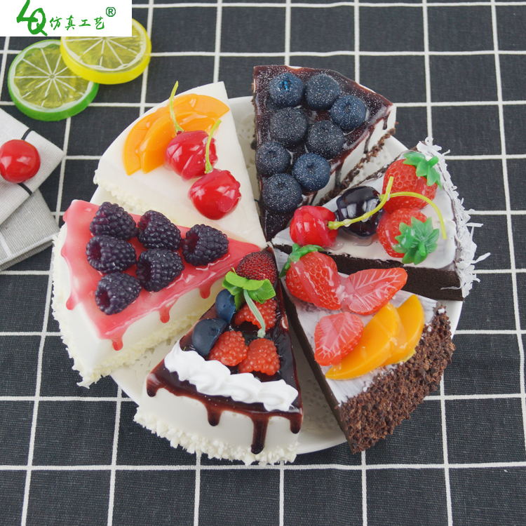 6pc Kitchen Artificial Fruit Cakes Dessert Fake Food Decorations Photography Pro Food Simulation Cake Model Tea Table Decoration