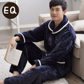 Free Shipping New arrive Winter Full Sleeve Coral Velvet Upscale Lovers Blue Colour Warmth Sleepwear