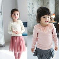 New Child Kids Baby Ruffled Lace Cotton Children Girls Tops Clothes Blouse