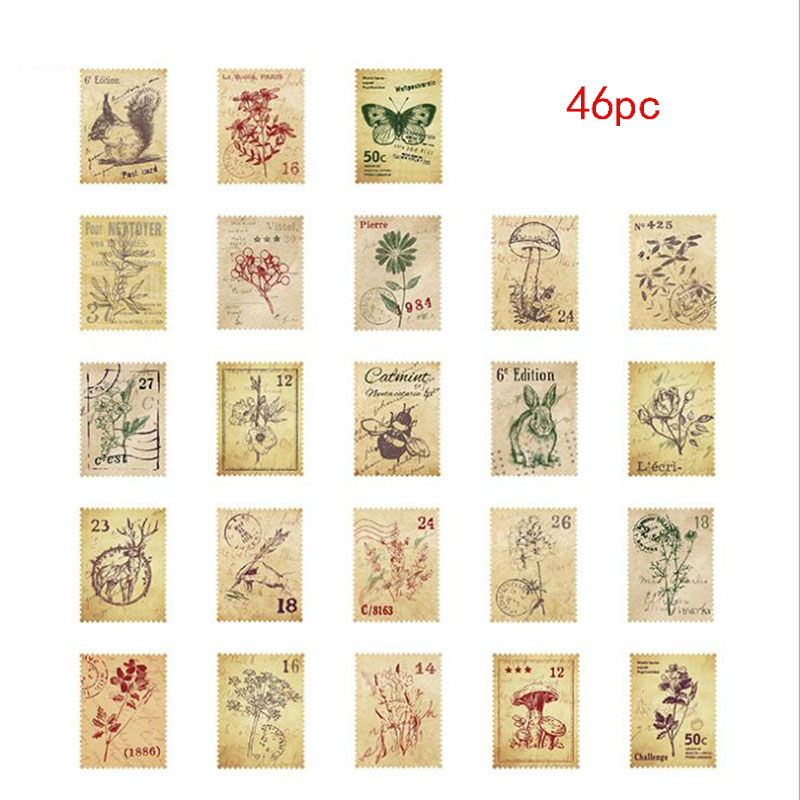 46 Pieces/Box Small Forest Post Office Mini Decorative Sticker DIY Diary Scrap Stamp Sticker Kawaii Sticker Sealing Sticker image