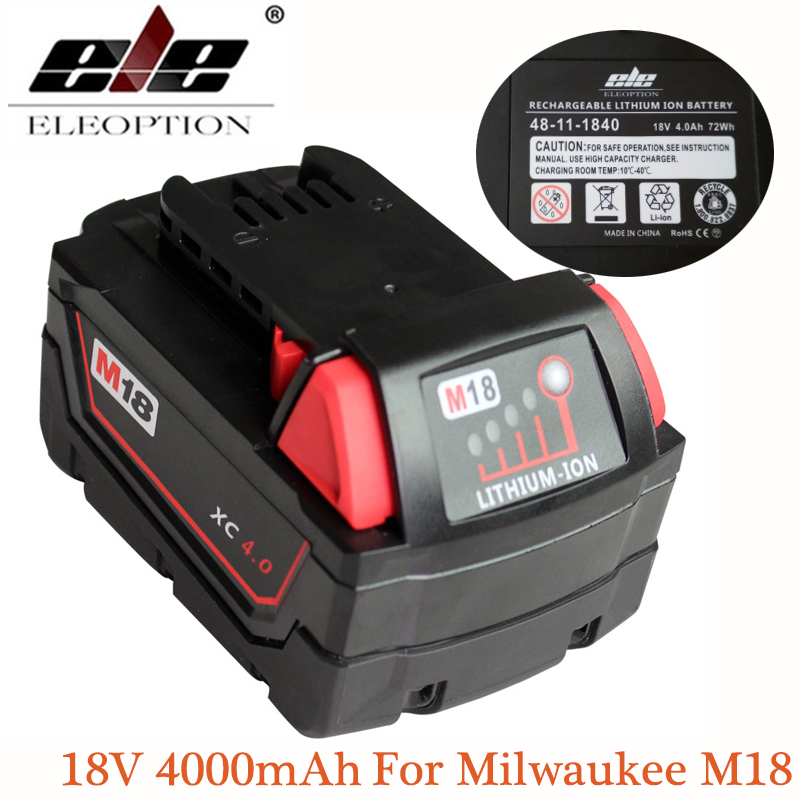 ELEOPTION M18 18V 4000mAh Li-ion Battery For Milwaukee M18 48-11-1828 48-11-1840 18V 4A Electrical Drill lithium-ion Battery power tool accessory lithium ion battery charger 14 4v 18v for milwaukee c18c c1418c 48 11 1815 1828 1840 m18 m14 serise parts