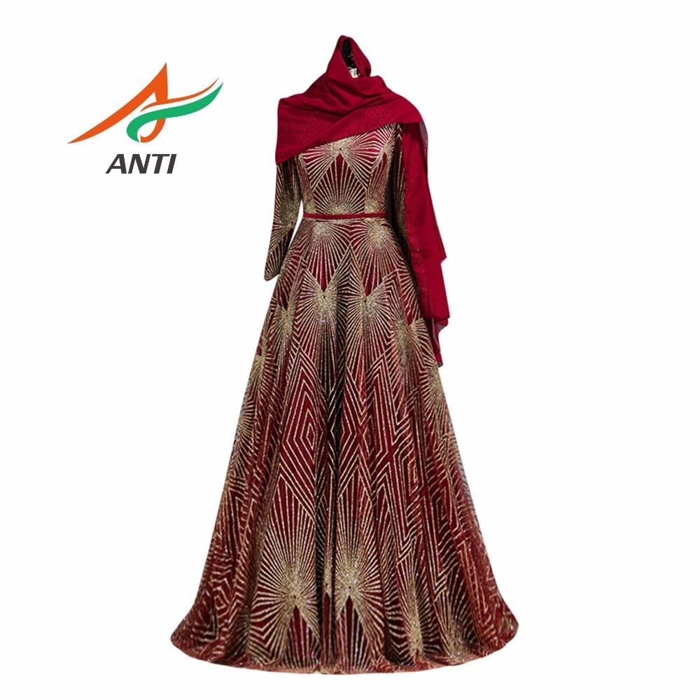Анти роскошное кружевное вечернее платье с блестками длинный рукав, мусульманский халат de soiree шарф с узором элегантный трапециевидной формы длиной до пола для вечерние платья