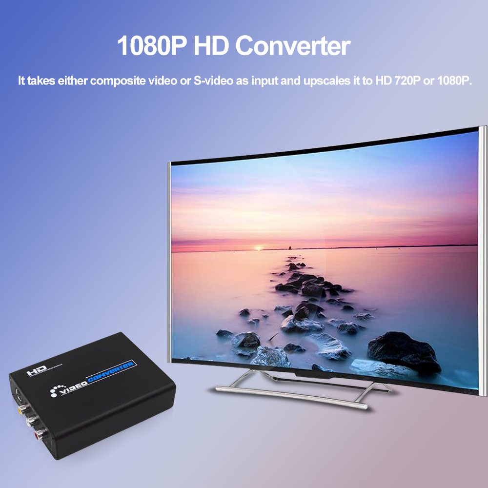 1080P HD Converter 3RCA AV CVBS Composite & S-Video R/L Audio to HD Converter Adapter EU US Plug Black composite av cvbs 3rca to hdmi video converter adapter full hd 720p 1080p for hdtv vcr dvd vhs ps3 xbox white new