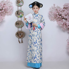 Ancient Qing Dynasty Outfit Hanfu Dress Children Chinese Traditional Princess Costume Kids Long Cheongsam Folk Dance Costume 2018 autumn kids chinese princess costume traditional dance costumes girls floral children folk ancient hanfu tang dynasty dress