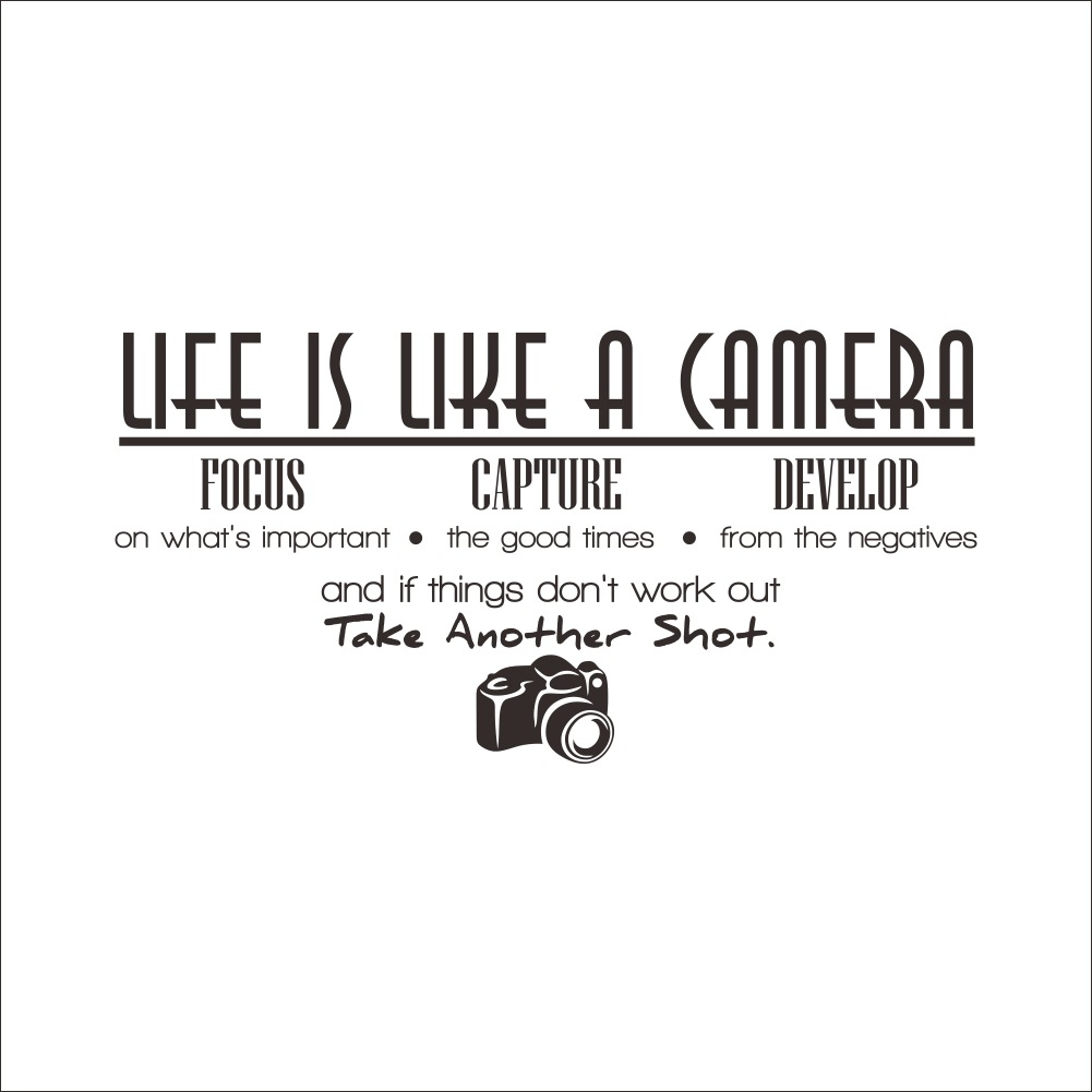 Unique Creative Removable Life Is Like A Camera Quote Wall Stickers