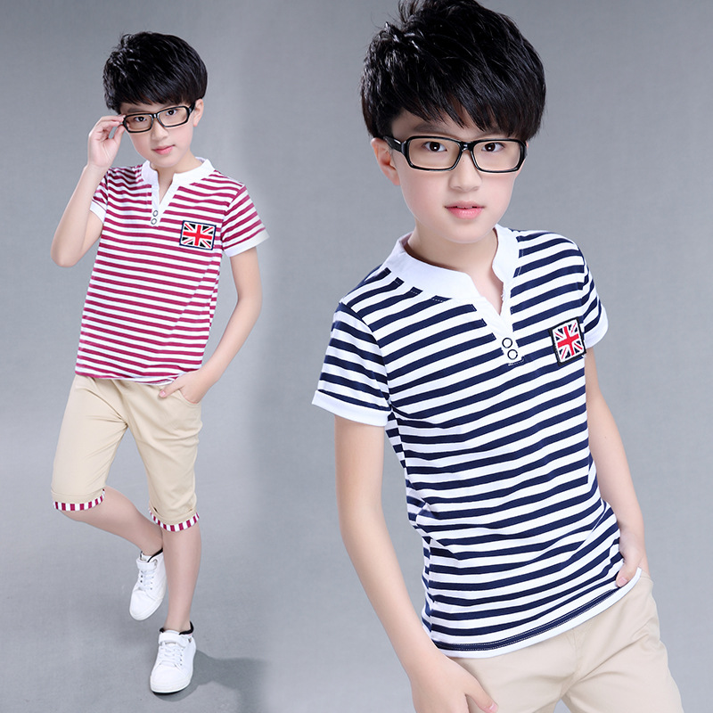 2017 Summer boys clothes Striped T-shirt Boy cotton short sleeved suit