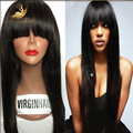 100% cabello humano sin cola pelucas de cabello cordón lleno con bebé Hairfor negro mujeres 7A pelo de la virgen brasileña peluca del frente del cordón con flequillo