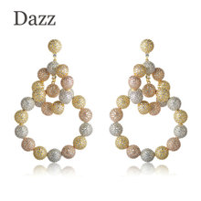 Dazz 2018 Classic Luxurious Circles Shape Wedding Earrings Full Zircons Three Colors Copper Jewelry Women Lady Party Accessories