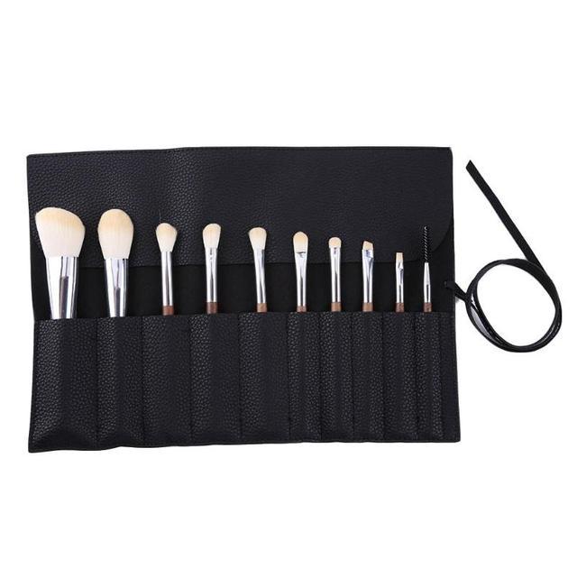 Roll-up PU de Couro do Saco da Bolsa De Armazenamento Cosméticos Mulheres Sacos de Maquiagem Portátil Escovas Simples Viajar Beleza Caso