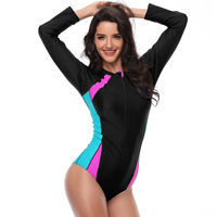2017 New Sports Swimwear One Piece Swimsuit Long Sleeve With Zipper Bathing Suits For Women 3XL