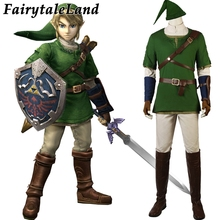The Legend of Zelda Twilight Princess Link Cosplay Costume Carnival Halloween Outfit Hot Game Zelda Green Clothing Battle Suit