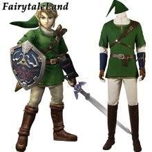Zelda alacakaranlık prenses bağlantı Cosplay kostüm karnaval cadılar bayramı kıyafet sıcak oyun Zelda yeşil giyim savaş takım elbise