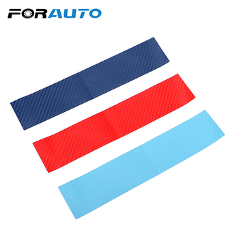 FORAUTO 3pcs/set Car Stickers Decals Carbon Fiber Front Grill Stripes Decals For BMW M3 M5 M6 E46 E39 E60 E90 Car-styling image