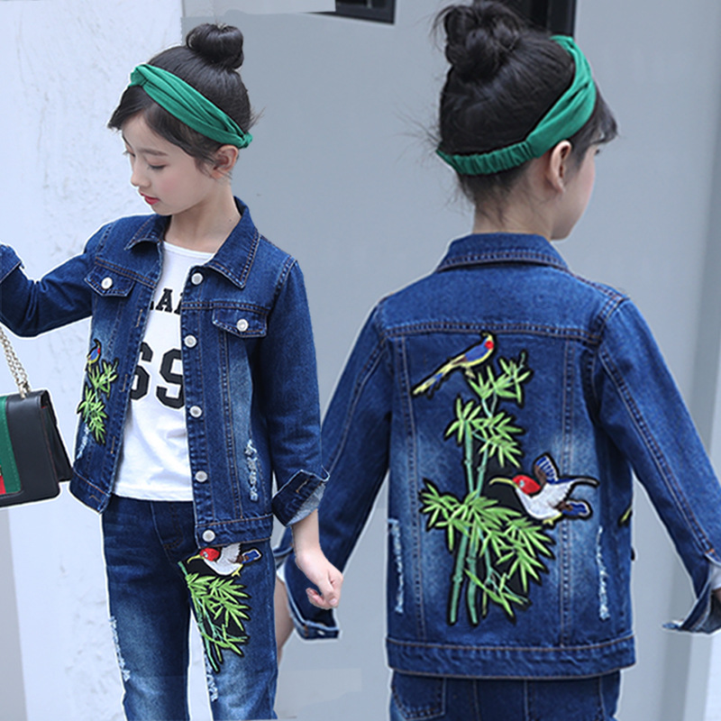 цена 2018 Kids Girls Clothes Set Printed Bamboo Denim Jacket Pants Children Clothing Winter Spring Autumn Girl Suit Conjunto Menina