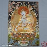Christmas hangka Tibetan Buddha Silk Embroidery Brocade Golden Silk Embroidered Buddha Statue Nepalese White Tara Halloween
