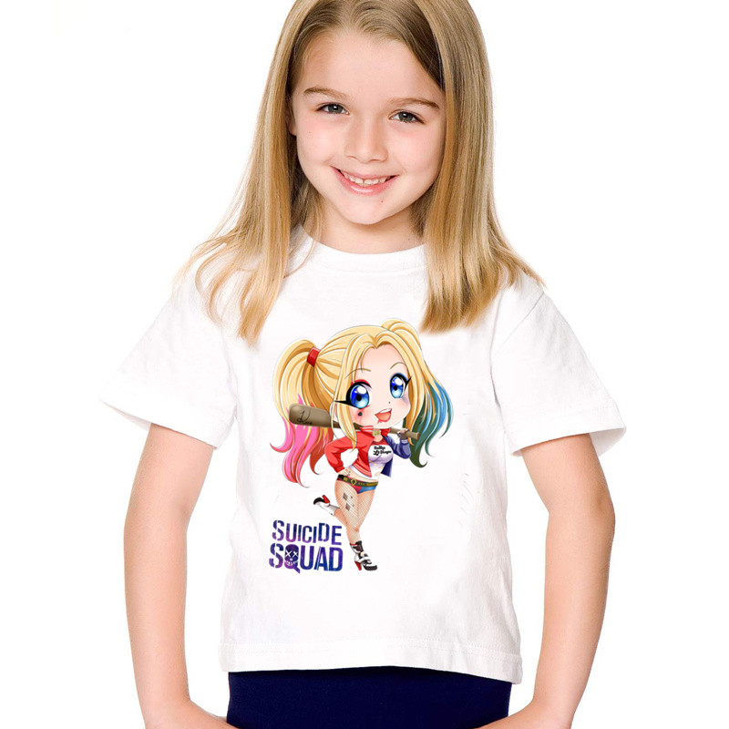 Children Cartoon Print Suicide Squad Cute Harley Quinn Funny T-shirts Kids Summer Tees Boys/Girls Casual Top Baby Clothes,HKP541