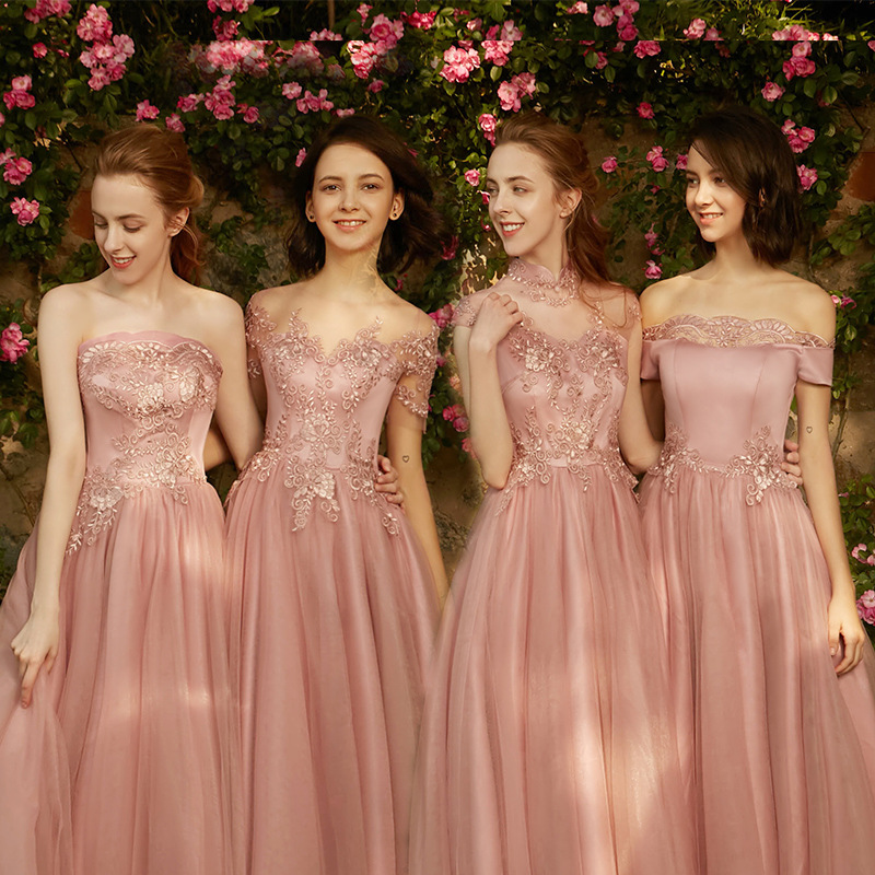 2019 New Style   Bridesmaid     Dress   Female Birthday Party Was Thin   Dress   Party Sister Group women Reflective   dress