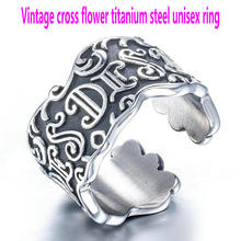 Unisex stainless steel ring     Vintage cross flower ring     Titanium steel flower ring rhinestone vintage flower ring