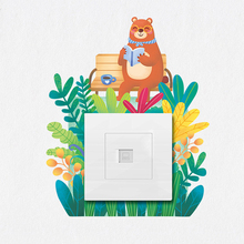 2018 Latest models Creative small fresh plant switch wall stickers room socket decoration set cute animal protection