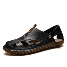 Mens Genuine Leather Sandals Summer New Beach Men Casual Shoes Outdoor Sandals Size 38-44 Fashion Man shoes все цены