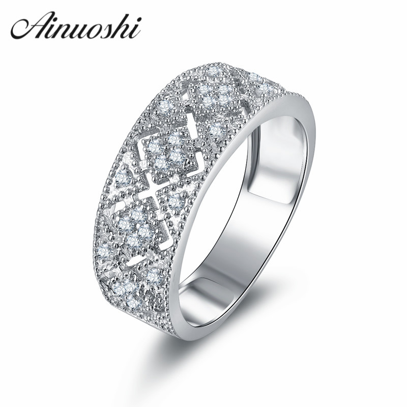 AINOUSHI Vintage Style Hollow Cross Wedding Ring Art Deco Jewelry Pure 925 Silver Ring WomenArt Deco Anillo 925 Mujer art deco