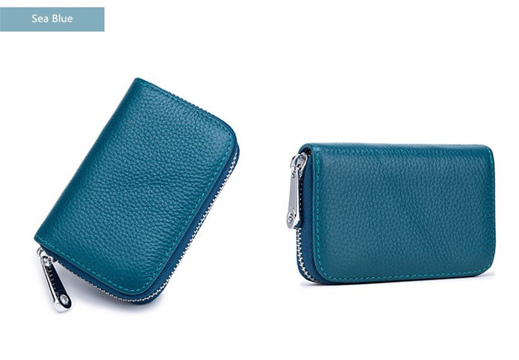 Women Small Genuine Leather Wallet Id Card Holder Anti Rfid Girl Purse Kids Gift