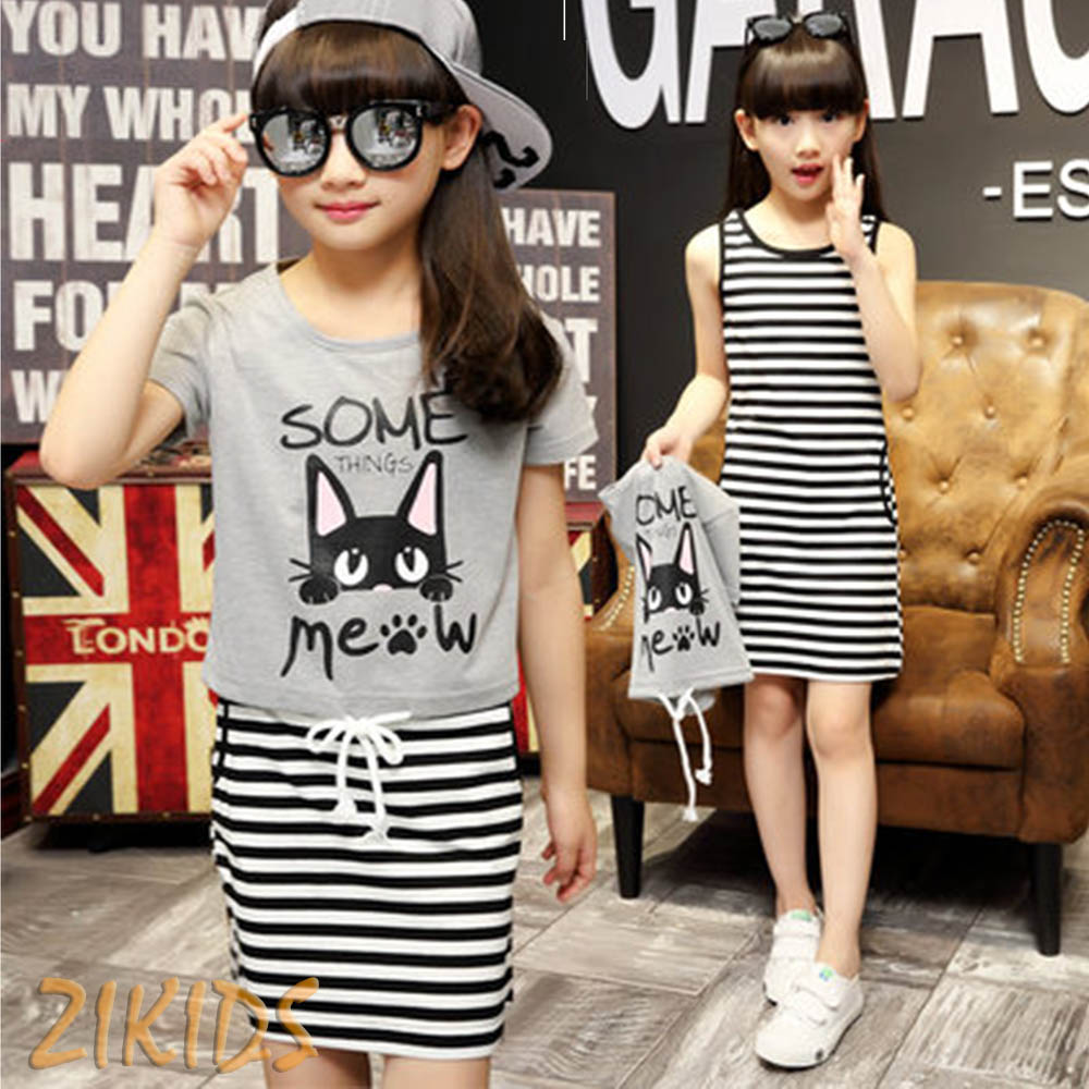 Casual Dresses for Girls Clothes Summer 2017 Striped Mini Dress+Pullover T-shirts Girls Clothing Sets Kids Children Brand Sales summer girls dresses casual children clothing sleeveless striped baby clothes for girls o neck striped brilliant color