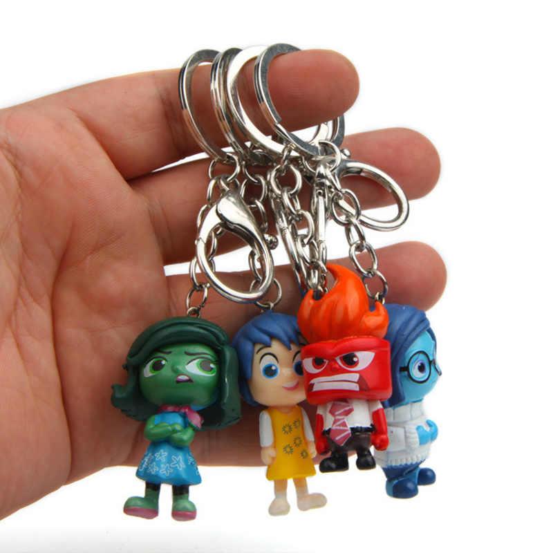 4 Buah/Set Film Pixar Inside Out PVC Angka Mainan dengan Gantungan Kunci Kartun Kesedihan Takut Joy Jijik Kemarahan Mainan untuk Anak hadiah