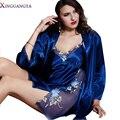 Conjuntos Mulheres Imitação Pijamas Sexy Nightgowns Robes Roupão Robe Femininos Lace Bordados Roupa Para Batas De Seda