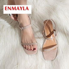 ENMAYLA 2019 New Arrival Women  Kid Suede Basic Wedding Womens Shoes Buckle Strap Solid Summer Fashion Size 34-43 LY2252