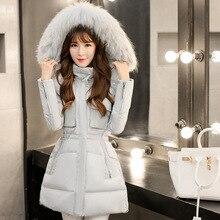 winter women jacket 2016 new medium long thickening slim quality large raccoon fur collar duck down