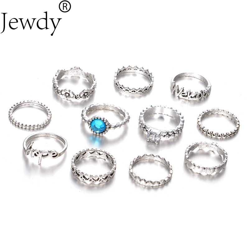 Judeu azul anéis definir as mulheres de várias camadas de cristal anel de coração para as mulheres da moda jóias bjioux