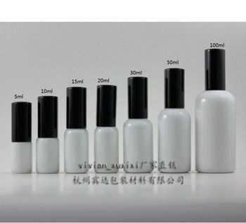15ml white Glass lotion bottle with black aluminum pump,cosmetic packing,cosmetic bottle,pack for liquid cream